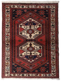 Hamadan Teppich 98X143 Echter Orientalischer Handgeknüpfter Dunkelbraun/Dunkelrot (Wolle, Persien/Iran)