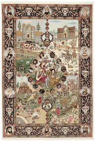 Täbriz 50 Raj Teppich 150X219 Echter Orientalischer Handgeknüpfter Braun/Hellbraun (Wolle/Seide, Persien/Iran)