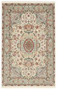 Täbriz 70 Raj Seidenkette Teppich 100X152 Echter Orientalischer Handgeknüpfter Hellgrau/Beige (Wolle/Seide, Persien/Iran)