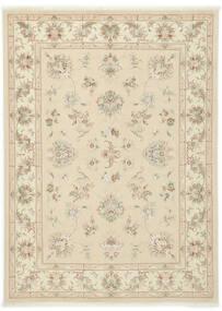 Täbriz 40 Raj Teppich 150X205 Echter Orientalischer Handgeknüpfter Beige/Dunkel Beige (Wolle/Seide, Persien/Iran)