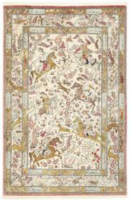 Ghom Seide Teppich 132X203 Echter Orientalischer Handgeknüpfter Dunkel Beige/Hellgrau (Seide, Persien/Iran)