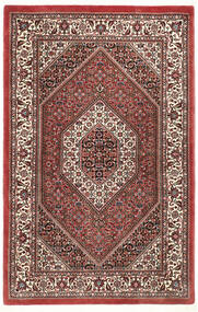 Bidjar Mit Seide Teppich 95X148 Echter Orientalischer Handgeknüpfter Dunkelrot/Dunkelbraun (Wolle/Seide, Persien/Iran)