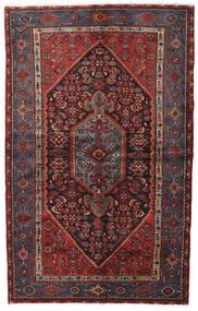 Hamadan Teppich  140X222 Echter Orientalischer Handgeknüpfter Dunkelrot/Schwartz (Wolle, Persien/Iran)