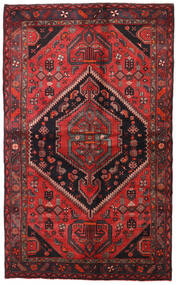 Hamadan Teppich  138X225 Echter Orientalischer Handgeknüpfter Dunkelrot/Schwartz (Wolle, Persien/Iran)