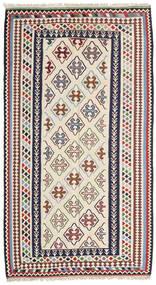 Kelim Senneh Teppich 148X268 Echter Orientalischer Handgewebter Beige/Dunkelgrau (Wolle, Persien/Iran)