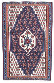 Kelim Senneh Teppich 110X165 Echter Orientalischer Handgewebter Dunkelgrau/Dunkellila (Wolle, Persien/Iran)