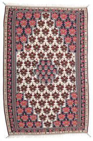 Kelim Senneh Teppich 150X220 Echter Orientalischer Handgewebter Dunkellila/Hellgrau (Wolle, Persien/Iran)