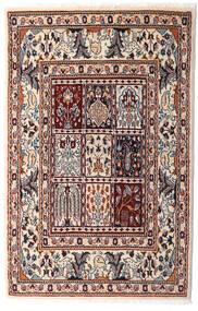 Moud Teppich 76X117 Echter Orientalischer Handgeknüpfter Beige/Dunkelbraun (Wolle/Seide, Persien/Iran)