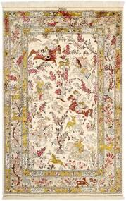 Ghom Seide Teppich 131X203 Echter Orientalischer Handgeknüpfter Beige/Braun (Seide, Persien/Iran)