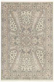 Nain 6La Teppich  206X303 Echter Orientalischer Handgeknüpfter Hellgrau/Beige (Wolle/Seide, Persien/Iran)