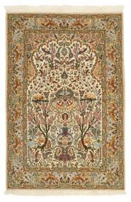 Isfahan Seidenkette Teppich 115X170 Echter Orientalischer Handgeknüpfter Hellbraun/Beige (Wolle/Seide, Persien/Iran)
