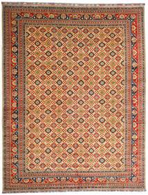Kunduz Teppich  382X488 Echter Orientalischer Handgeknüpfter Dunkelrot/Dunkel Beige Großer (Wolle, Afghanistan)
