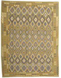Kelim Afghan Old Style Teppich  298X389 Echter Orientalischer Handgewebter Olivgrün/Dunkelgrau Großer (Wolle, Afghanistan)