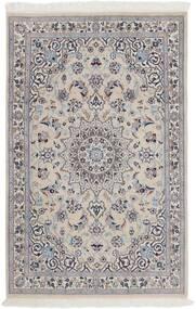 Nain 9La Teppich  116X180 Echter Orientalischer Handgeknüpfter Hellgrau/Dunkelbraun (Wolle/Seide, Persien/Iran)