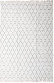 Bambus Seide Kelim Teppich  200X300 Echter Moderner Handgewebter Hellgrau/Weiß/Creme (Wolle/Bambus-Seide, Indien)