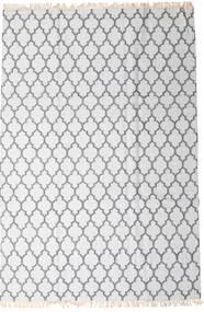 Bambus Seide Kelim Teppich  200X300 Echter Moderner Handgewebter Weiß/Creme/Hellgrau (Wolle/Bambus-Seide, Indien)