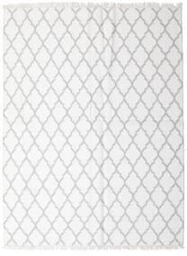 Bambus Seide Kelim Teppich  170X220 Echter Moderner Handgewebter Weiß/Creme/Hellgrau (Wolle/Bambus-Seide, Indien)