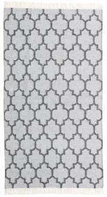 Bambus Seide Kelim Teppich  90X160 Echter Moderner Handgewebter Weiß/Creme/Hellgrau (Wolle/Bambus-Seide, Indien)