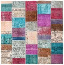 Patchwork - Persien/Iran Teppich  200X205 Echter Moderner Handgeknüpfter Quadratisch Hellgrau/Lila (Wolle, Persien/Iran)