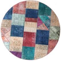 Patchwork - Persien/Iran Teppich Ø 200 Echter Moderner Handgeknüpfter Rund Dunkelblau/Lila (Wolle, Persien/Iran)