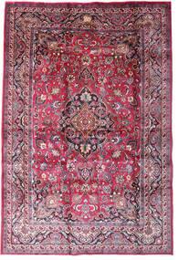 Maschad Teppich  198X290 Echter Orientalischer Handgeknüpfter Dunkellila/Hellrosa (Wolle, Persien/Iran)