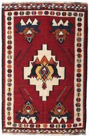 Kelim Vintage Teppich 153X232 Echter Orientalischer Handgewebter Dunkelrot/Dunkelbraun (Wolle, Persien/Iran)