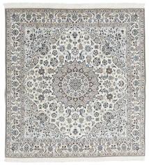 Nain 9La Teppich  190X202 Echter Orientalischer Handgeknüpfter Quadratisch Hellgrau/Weiß/Creme (Wolle/Seide, Persien/Iran)