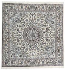 Nain 9La Teppich  200X205 Echter Orientalischer Handgeknüpfter Quadratisch Hellgrau/Dunkelgrau (Wolle/Seide, Persien/Iran)