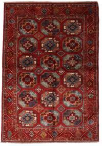 Modern Afghan Teppich  137X201 Echter Moderner Handgeknüpfter Dunkelrot (Wolle, Afghanistan)