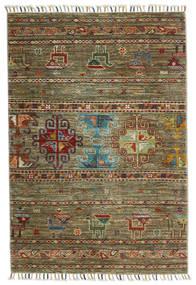 Shabargan Teppich  87X125 Echter Moderner Handgeknüpfter Olivgrün/Braun (Wolle, Afghanistan)