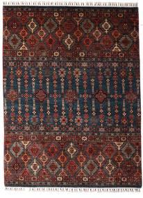 Shabargan Teppich  154X202 Echter Moderner Handgeknüpfter Dunkelrot/Schwartz (Wolle, Afghanistan)