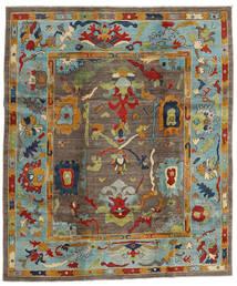 Kazak Teppich  244X290 Echter Orientalischer Handgeknüpfter Braun/Hellgrau (Wolle, Afghanistan)