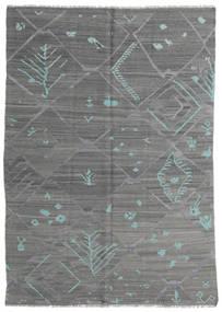 Kelim Modern Teppich  168X239 Echter Moderner Handgewebter Dunkelgrau/Dunkelgrün (Wolle, Afghanistan)