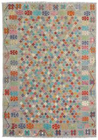 Kelim Afghan Old Style Teppich 176X250 Echter Orientalischer Handgewebter Hellgrau/Dunkelgrau (Wolle, Afghanistan)