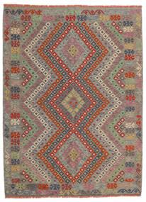 Kelim Afghan Old Style Teppich  174X234 Echter Orientalischer Handgewebter Hellgrau/Dunkelrot (Wolle, Afghanistan)