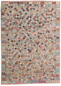 Kelim Afghan Old Style Teppich 172X240 Echter Orientalischer Handgewebter Hellgrau/Dunkelgrau (Wolle, Afghanistan)