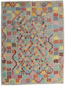 Kelim Afghan Old Style Teppich  185X245 Echter Orientalischer Handgewebter Hellgrau/Dunkelgrau (Wolle, Afghanistan)