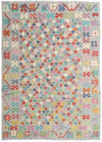 Kelim Afghan Old Style Teppich  178X247 Echter Orientalischer Handgewebter Hellgrau/Hellrosa (Wolle, Afghanistan)