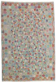 Kelim Afghan Old Style Teppich  206X299 Echter Orientalischer Handgewebter Hellgrau/Hellbraun (Wolle, Afghanistan)