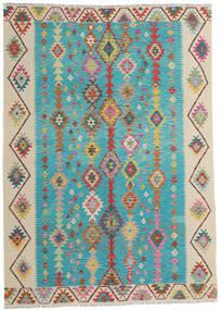 Kelim Afghan Old Style Teppich  203X283 Echter Orientalischer Handgewebter Türkisblau/Dunkel Beige (Wolle, Afghanistan)