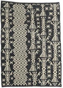 Kelim Modern Teppich  210X288 Echter Moderner Handgewebter Dunkelgrau/Beige (Wolle, Afghanistan)