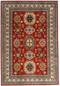 Kazak Teppich 201X293 Echter Orientalischer Handgeknüpfter Dunkelrot/Dunkelgrau (Wolle, Afghanistan)