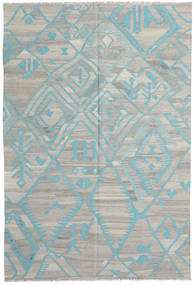 Kelim Modern Teppich 200X294 Echter Moderner Handgewebter Hellgrau (Wolle, Afghanistan)