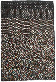 Kelim Modern Teppich 202X292 Echter Moderner Handgewebter Schwartz/Dunkelgrau (Wolle, Afghanistan)
