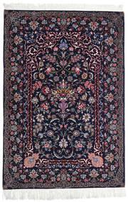 Isfahan Seidenkette Teppich 110X160 Echter Orientalischer Handgeknüpfter Schwartz/Dunkellila (Wolle/Seide, Persien/Iran)