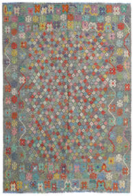 Kelim Afghan Old Style Teppich  203X295 Echter Orientalischer Handgewebter Dunkelgrau/Hellgrau (Wolle, Afghanistan)