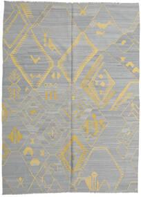 Kelim Modern Teppich  213X289 Echter Moderner Handgewebter Hellgrau/Dunkelgrau (Wolle, Afghanistan)