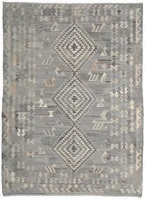 Kelim Ariana Teppich  216X285 Echter Moderner Handgewebter Hellgrau/Dunkelgrau (Wolle, Afghanistan)