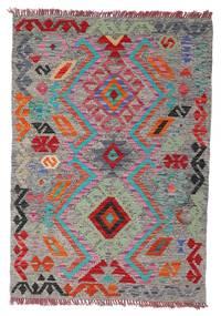 Kelim Afghan Old Style Teppich  78X112 Echter Orientalischer Handgewebter Hellgrau/Dunkelgrau (Wolle, Afghanistan)
