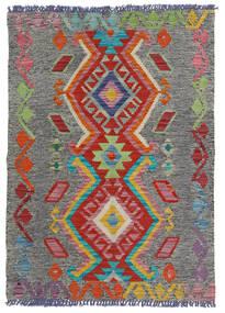 Kelim Afghan Old Style Teppich  80X114 Echter Orientalischer Handgewebter Dunkelgrau/Hellgrau (Wolle, Afghanistan)